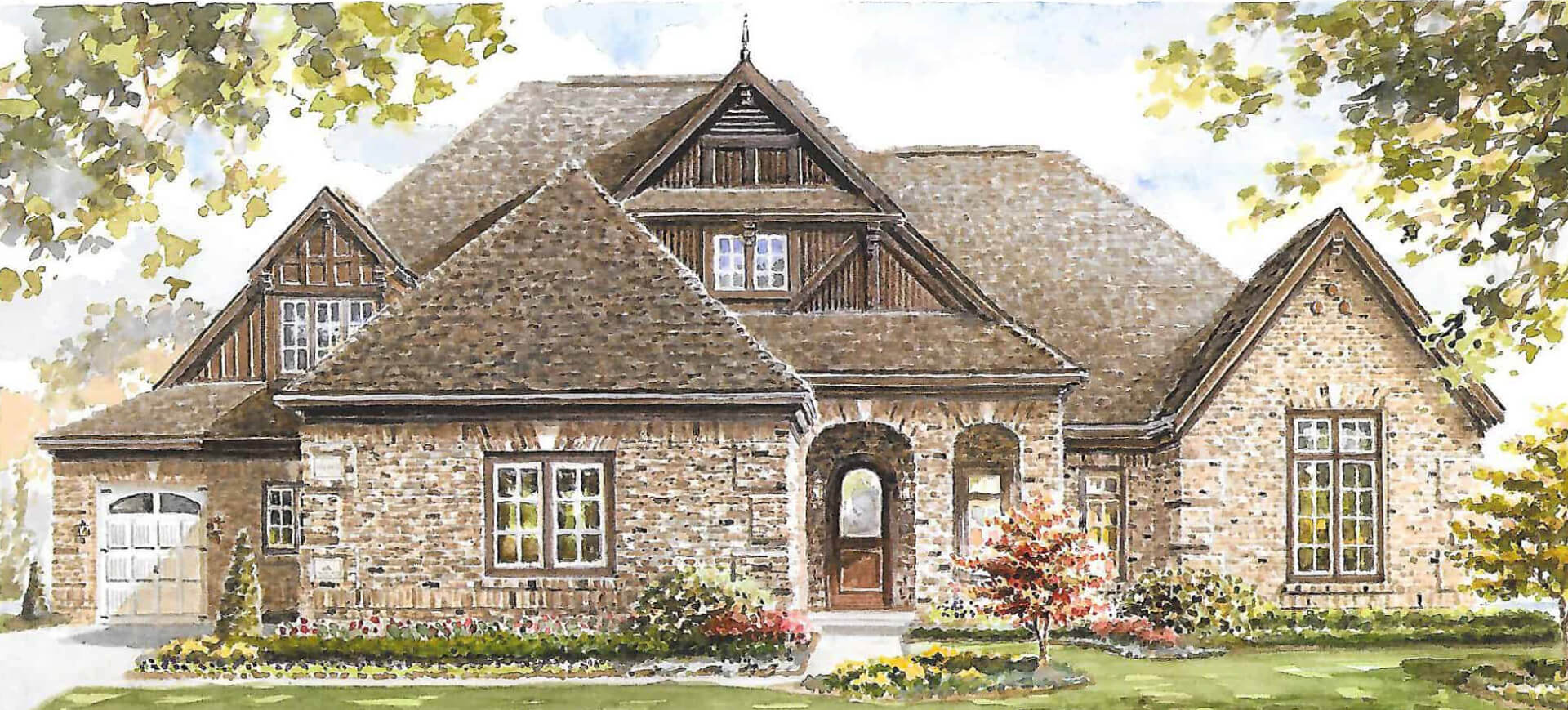 watercolored sketch of a one-story, custom built home in Carmel, IN