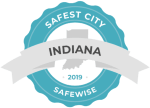 Blue banner featuring Carmel, Indiana's safest city