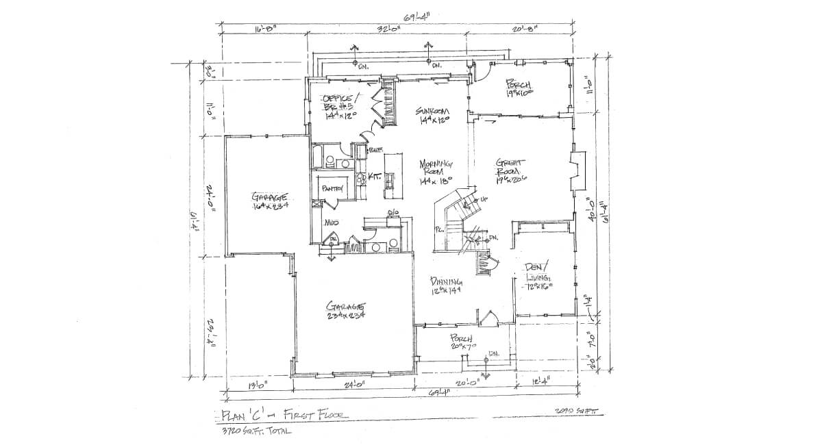 Two-story, custom home floor plan layout featuring 3 car garage, large kitchen, office space, and porch