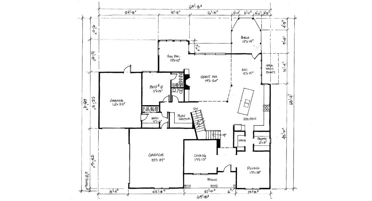 Two-story, custom home floor plan layout featuring 3 car garage, large kitchen, and screened-in porch
