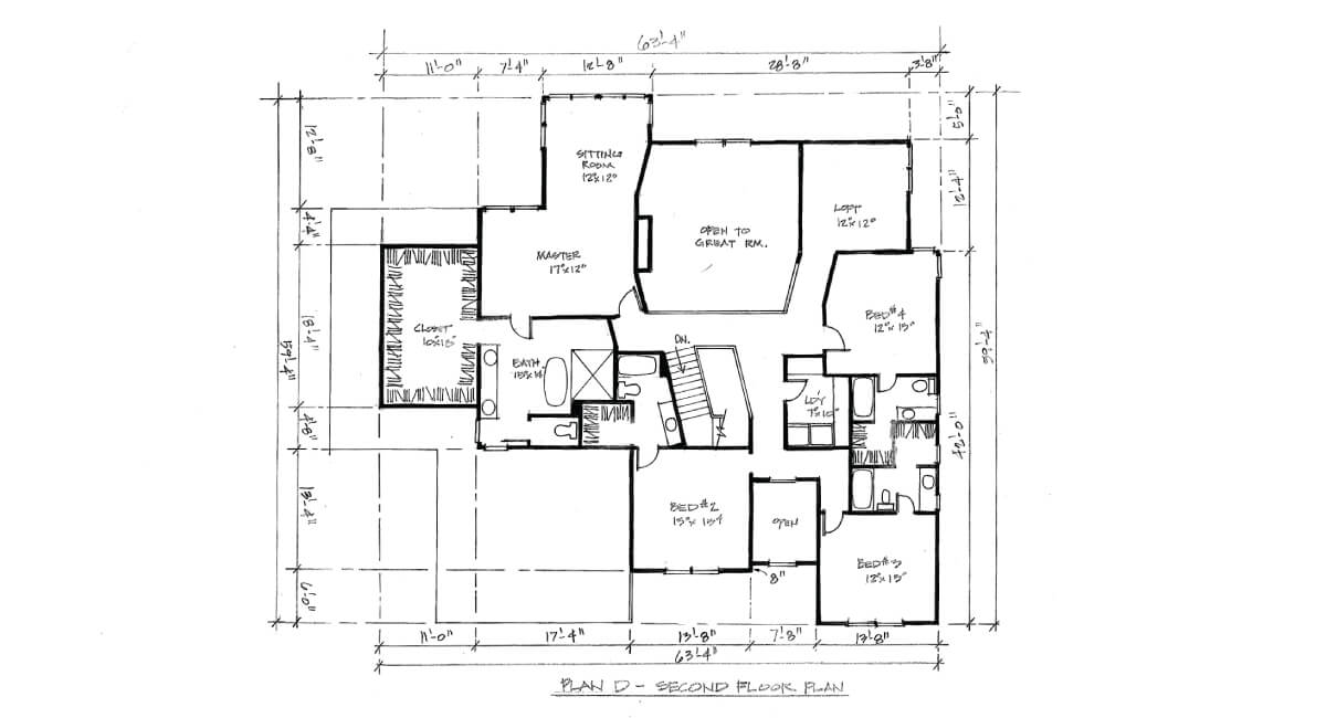 Two-story, custom home floor plan layout featuring master suite, loft, 4 bedrooms, and walk-in closet