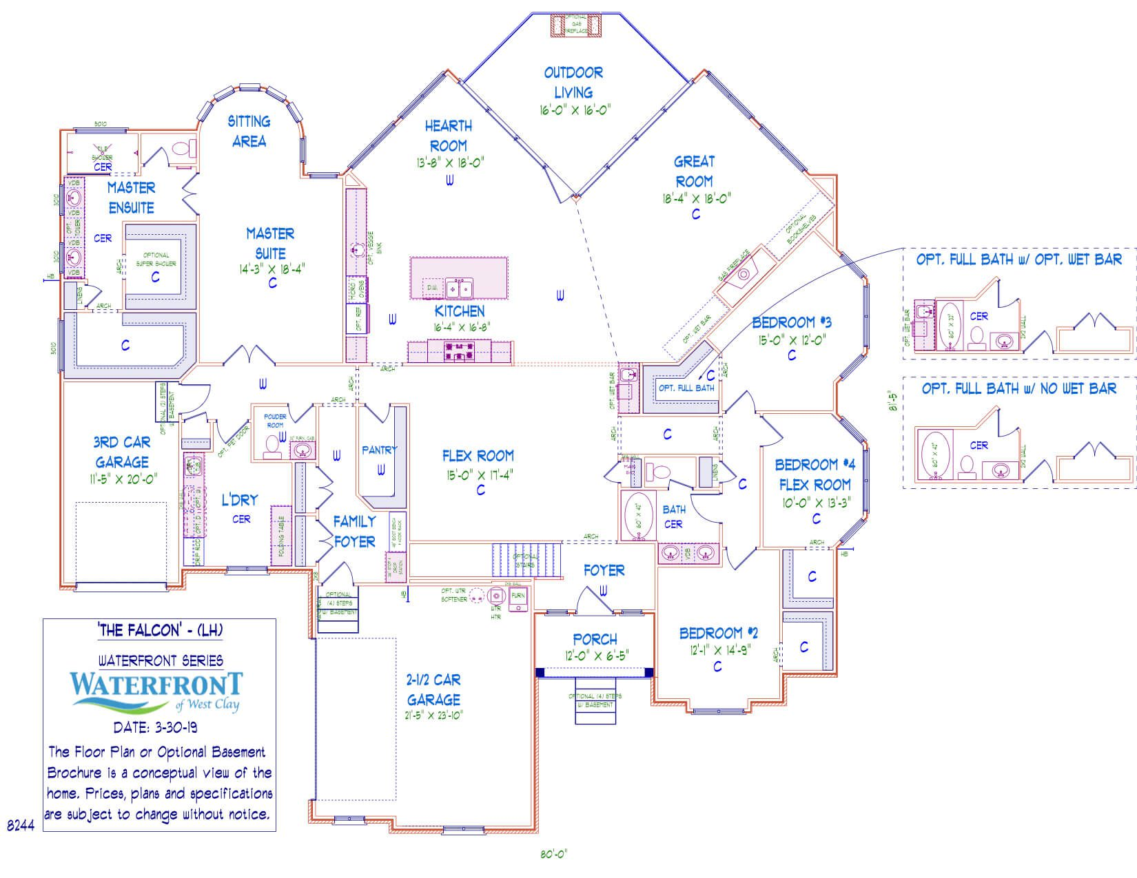 One-story, custom home floor plan layout featuring 3 car garage, 4 bedroom, large kitchen, and master suite