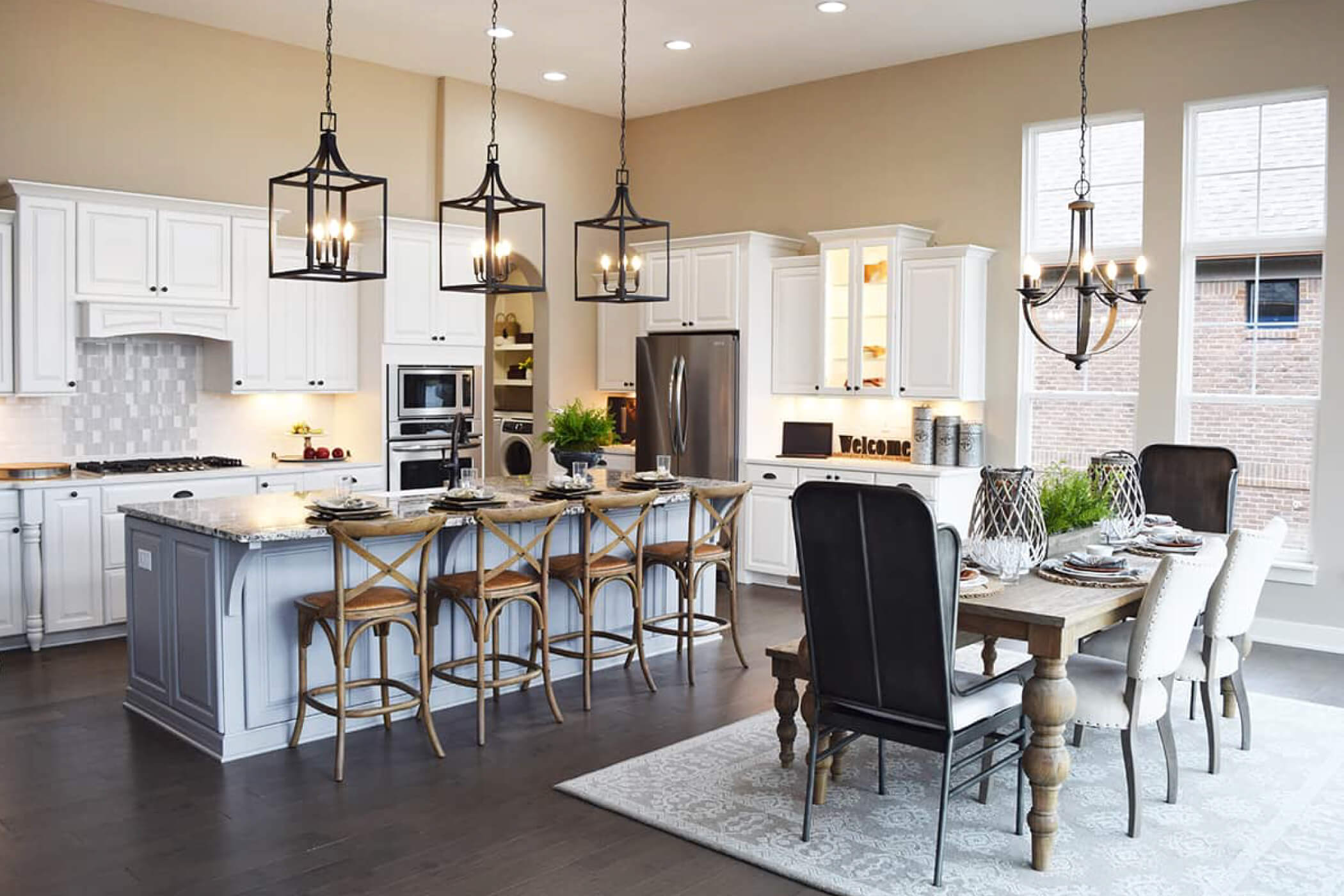 6 person wood dining room table in the kitchen of a custom home