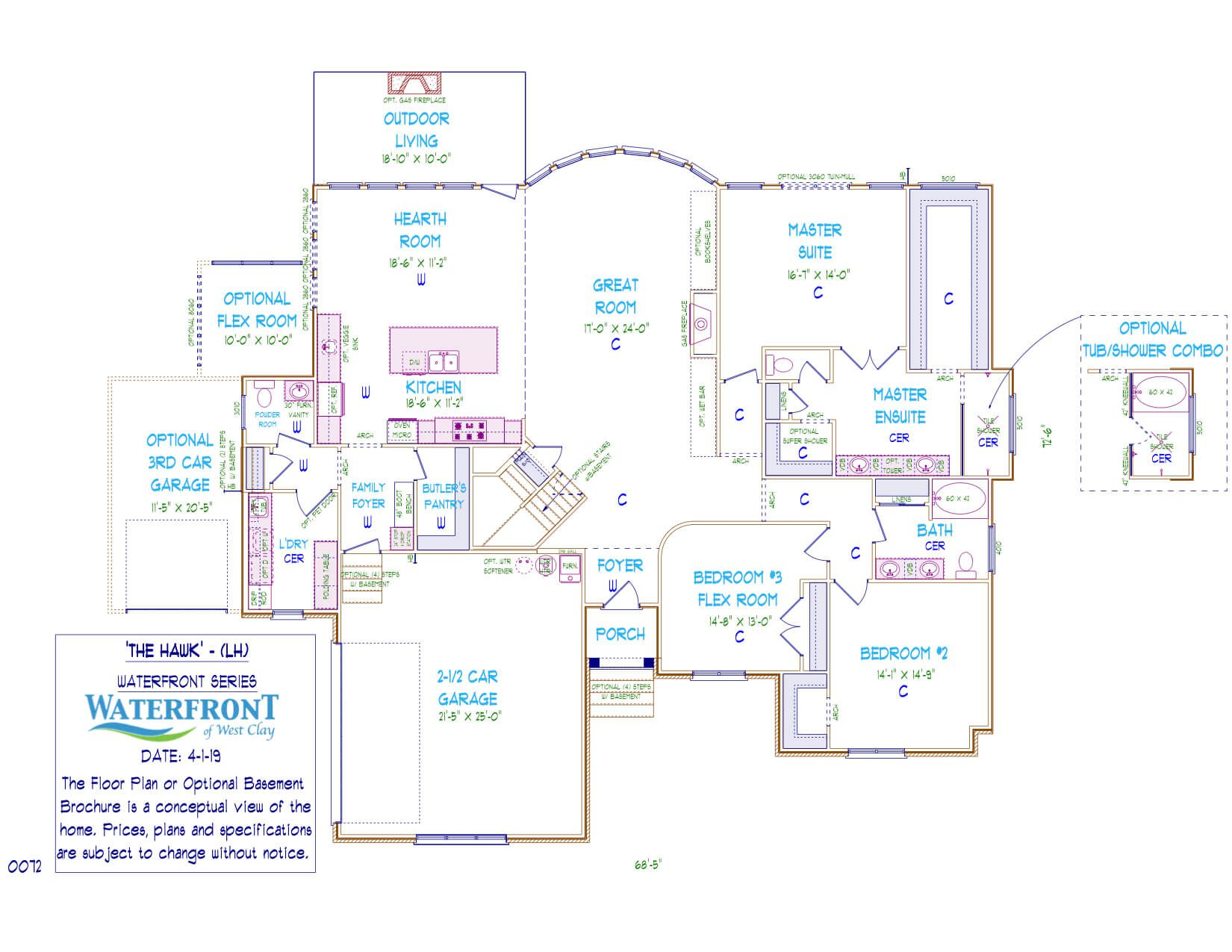 One-story, custom home floor plan layout featuring 3 car garage, large kitchen, and master suite