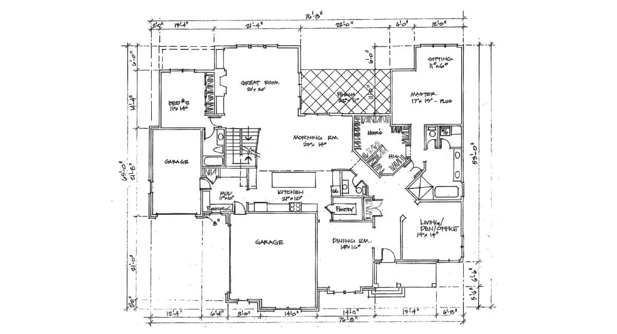 Two-story, custom home floor plan layout featuring kitchen, den, 3 car garage, and master suite