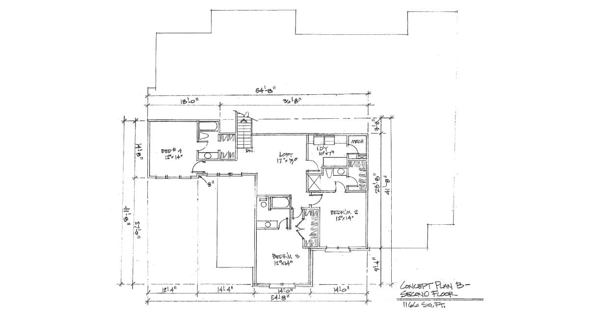 Two-story, custom home floor plan layout featuring loft, 4 bedrooms, and walk-in closet