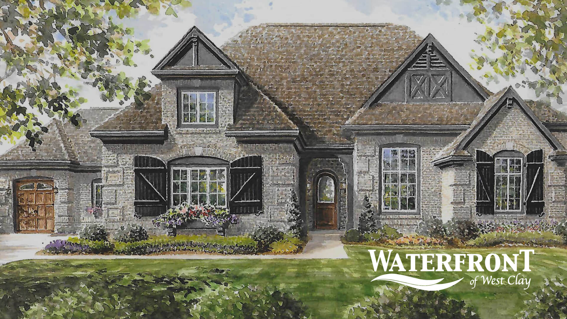 Grey and brown watercolor sketch of two-story luxury custom home in Carmel, IN with Waterfront of West Clay white logo in corner